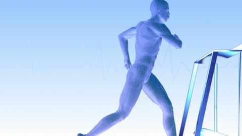 Man running on a treadmill Stock Video Footage