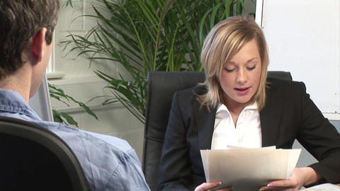 Young Woman Giving a Job Interview Stock Video Footage