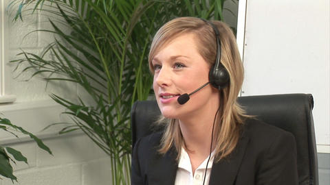 Attractive Blonde on Headset Footage