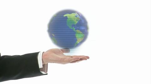 Hand holding a turning globe Animation
