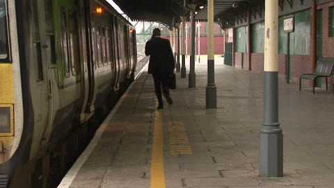 Business man at Train station Footage