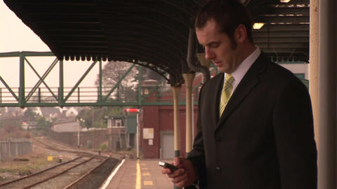 Man waiting for train Stock Video Footage