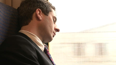 Businessman Working on a Train Stock Video Footage