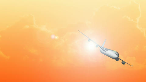 CGI Of An Airplane Flying In The Sky At Sunset stock footage