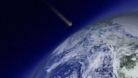 Meteor burning up in Space Animation