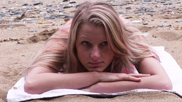 Woman Sunbathing Footage