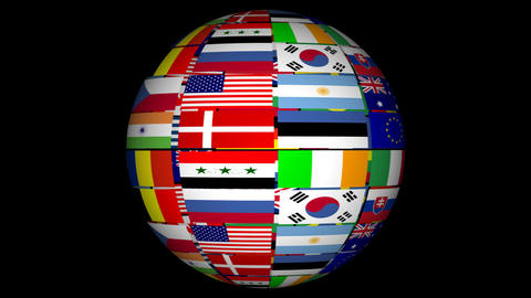 Globe With World Flags Footage