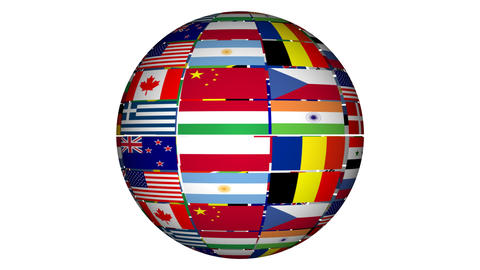 Globe With Flags Stock Video Footage