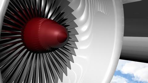 Airplane Engine Turnig stock footage