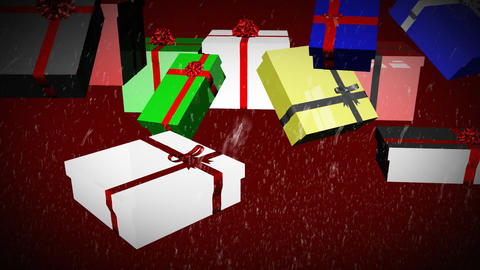 3D Falling Christmas Presents 5 Stock Video Footage
