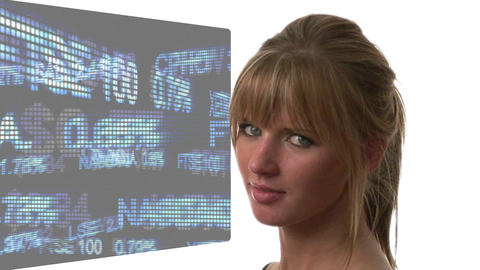 Attractive Woman looking at Graph Footage