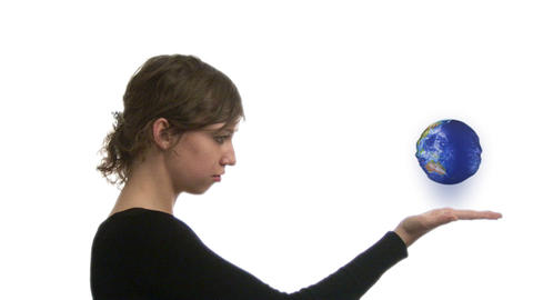 Woman looking at Globe Footage