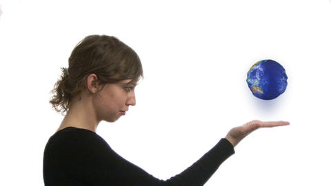 Business Person with Globe in Hand Footage