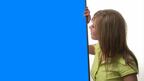 Woman with Blue Screen Sign Live Action
