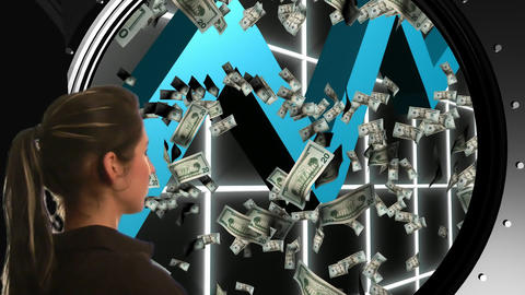 Businesswoman looking into a vault Stock Video Footage