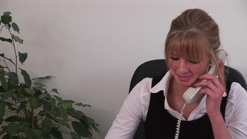 Caucasian Businesswoman at Work on Phone Footage