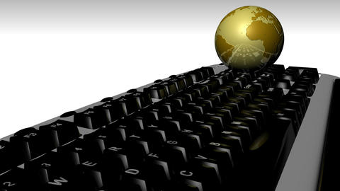 KEYBOARD AND GLOBE 2 Stock Video Footage