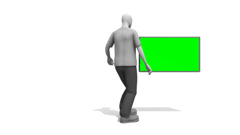 Character man pointing at a green screen Stock Video Footage