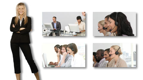 Collage of HDvideo footage of a business call cent Footage