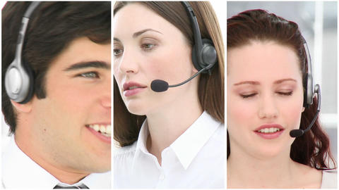 Many people at work in a call centre Footage