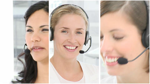Team of people working in a call centre Footage