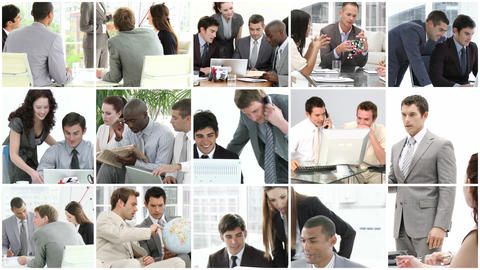 Businesss team showing spirit of teamwork in busin Footage