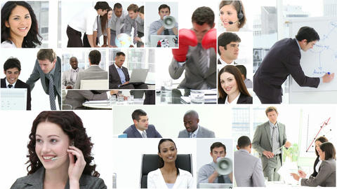Montage of Business people at work Footage