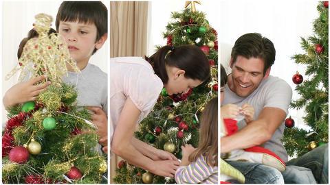 Family having fun at Christmas Footage