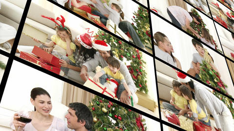 Young family enjoying Christmas Stock Video Footage