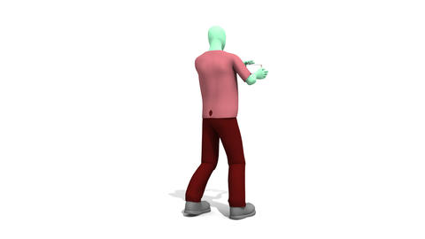 3d Man with Family Footage Animation