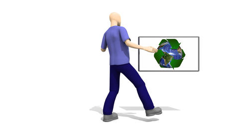 3d Man showing Recycle Concept animation Animation