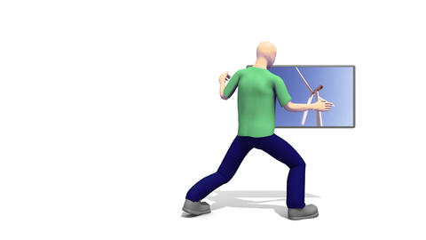 3d Man showing a Windturbine Animation