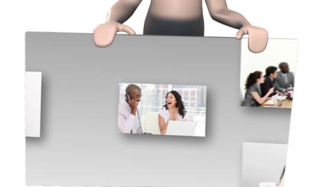Character man showing business people collage Stock Video Footage