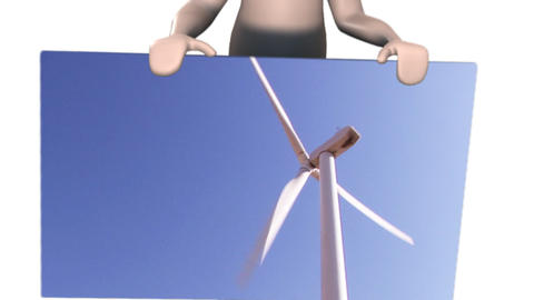 Man showing a wind Turbine Footage