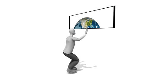 3d Man presenting a globe Stock Video Footage