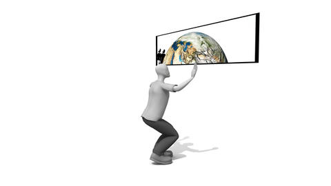 Man showing the world in HD Animation