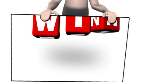 3d Man With Win Animation stock footage
