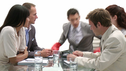Business team in a meeting being led by a senior b Footage