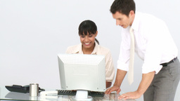 Business coworkers at a computer Stock Video Footage