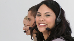 Business people working hard in a call centre Stock Video Footage