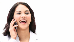 Charming business woman talking on phone Footage