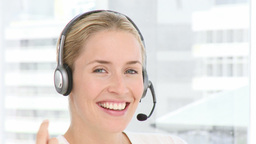 Business woman with headphones Footage