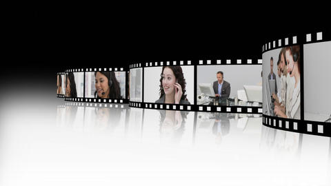 International business people with headset on Stock Video Footage
