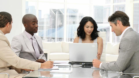 Concentrated business people in a meeting Stock Video Footage