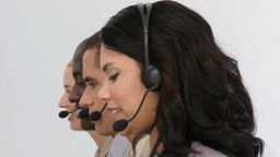Smiling business team using headset Stock Video Footage
