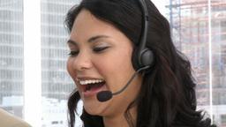 Laughing customer service representative Footage