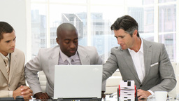Confident businessmen working at a computer Stock Video Footage
