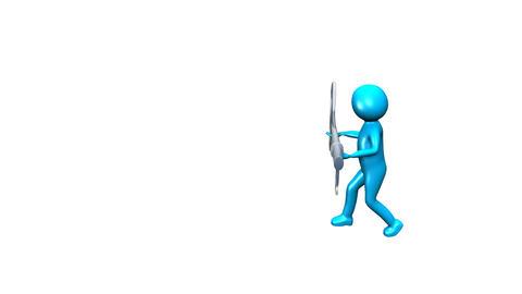3D man holding a key Footage