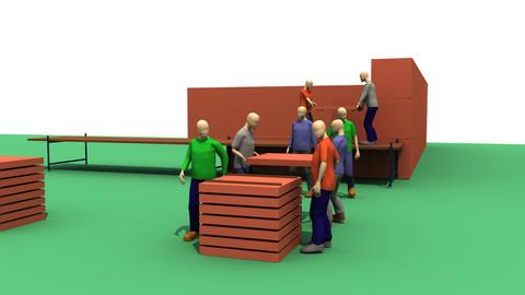 3D architect team building a house Animation