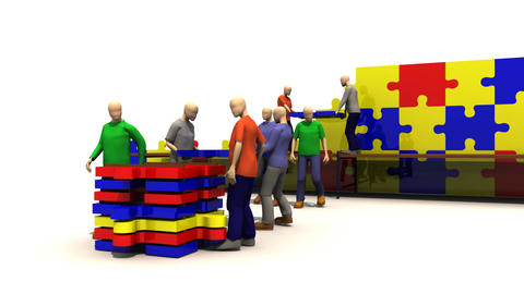 3D team assembling a puzzle Animation